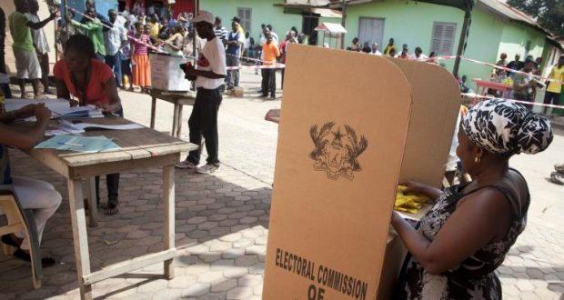 People cast their votes in presidential and parliamentary elections at a polling station in Tesano, Accra, Ghana, Saturday, Dec. 8, 2012. About 225 polling stations reopened Saturday for an impromptu second day of voting after there were technical breakdowns on the first day of voting, Ghana voting officials announced. Some voters waited in line all day Friday and then returned to vote on Saturday. (AP Photo/Gabriela Barnuevo)