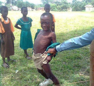 A child been punished for going to school late