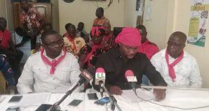 Members of the Dormaa poultry Farmers Association addressing the media