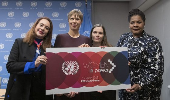 General Assembly President María Fernanda Espinosa Garcés (left) with (from left to right): President Kersti Kaljulaid of Estonia; Prime Minister Katrín Jakobsdóttir of Iceland; and President Paula-Mae Weekes of Trinidad and Tobago, following their press briefing on the high-Level event on 'Women in Power'.